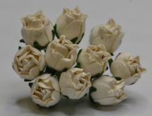 15mm OFF WHITE HIP ROSE BUDS (L) Mulberry Paper Flowers